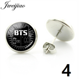 Hot BTS Earrings Wings LOVE YOURSELF Album Bangtan Boys Photo Stud Earrings Glass Cabochon Jewelry