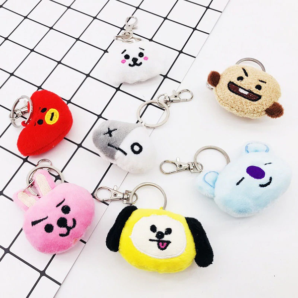 BTS bulletproof Youth League Plush Keychain Pendant BT21 ugly Ugly dolls kids toys Key buckle Christmas Gift