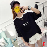 Harajuku Fashion Bts Kpop Tshirt Women Cotton T Shirt Elegant Korean Style Ladies Shirts Plus Size Summer Tops Camiseta Feminina