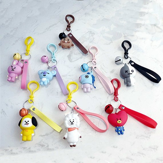 KPOP BTS BT21 Cartoon Keychain Key Holder Chain Bag Pendant Accessories Keyring Jewelry