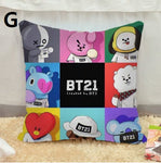 Kpop BTS BT21 Bangtan Boys ARMY Van Shooky Mang Chimmy Tata Cooky KOYA Waist Cushion Pillow Case Decoration