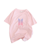Women Stripes T shirt Summer Pure Cotton Kpop BTS Harajuku Graphic Tshirt Streetwear Korean Clothes Chic Round Neck Tee Top