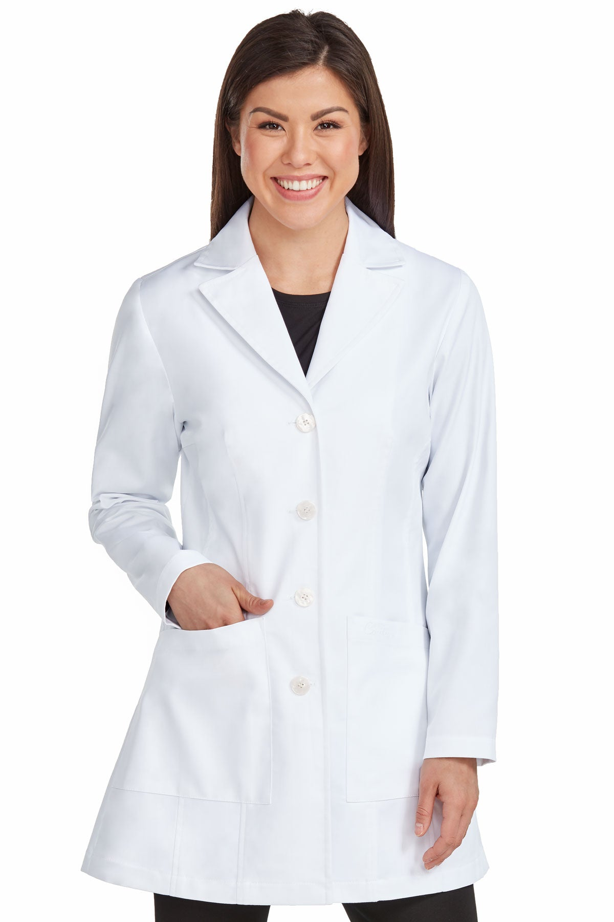 Med Couture 9644 Tailored Mid Length Lab Coat