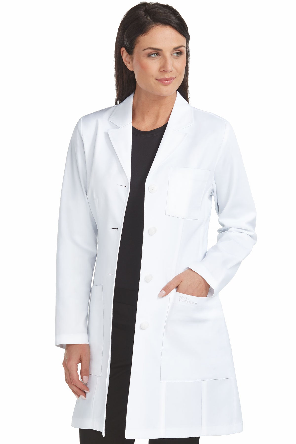Med Couture 9652 Tailored Empire Mid Length Lab Coat