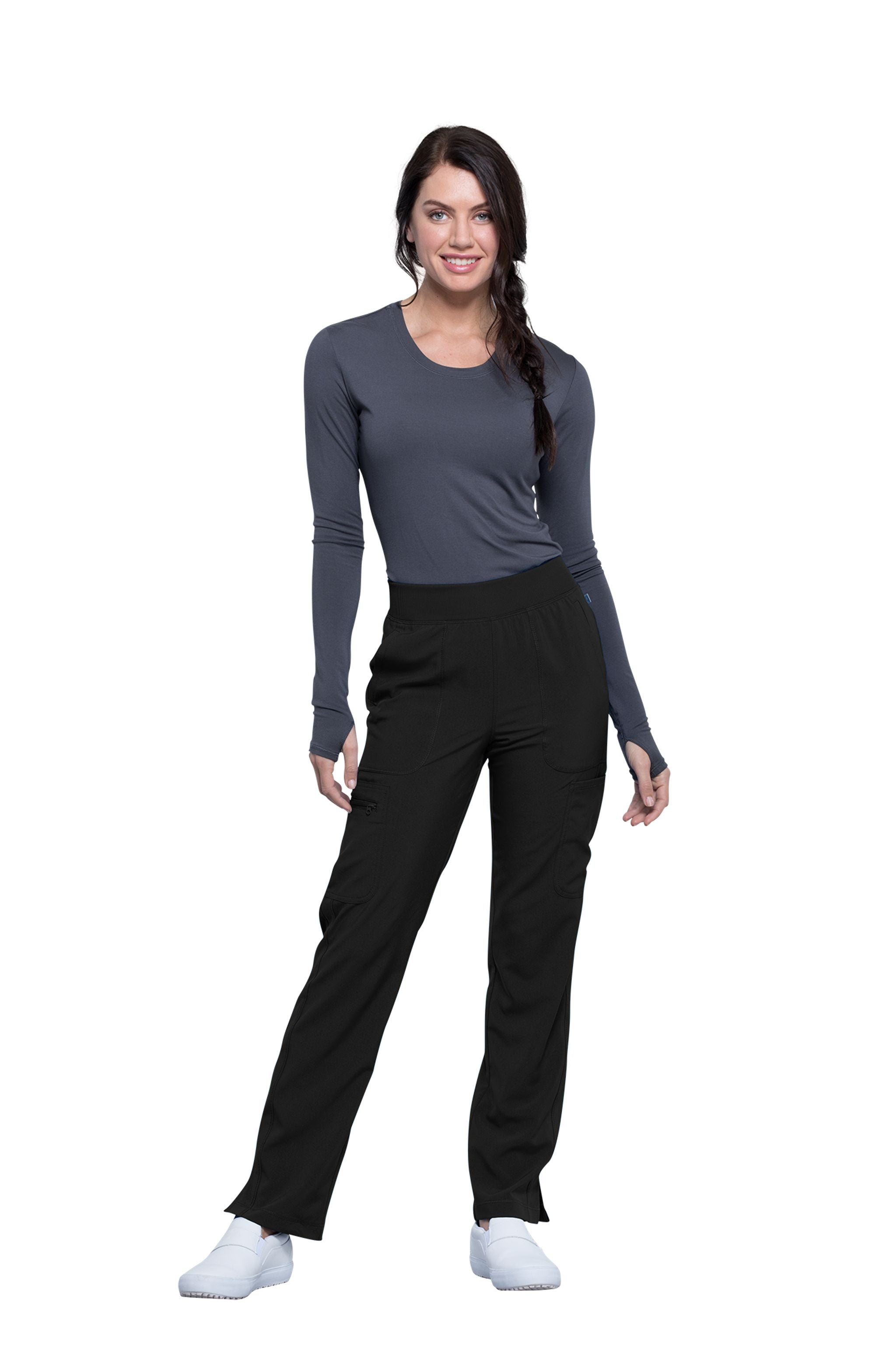 Cherokee Infinity CK065A Petite Mid Rise Tapered Leg Pull-On Pant