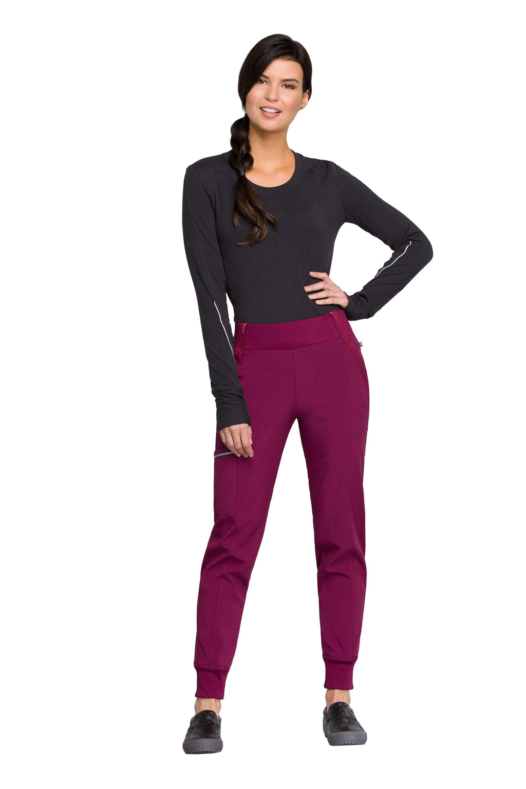 Cherokee Infinity CK110A Petite Mid Rise Tapered Leg Jogger Pant