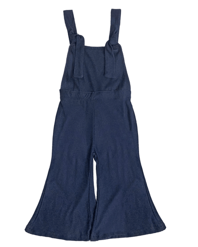 Suspender Bell Bottom Jumpsuit - Denim