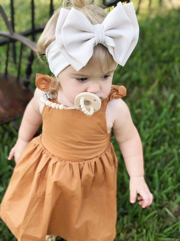 Coffee Ruffle Dress