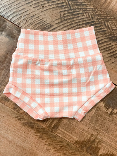 Coral Gingham Bummies