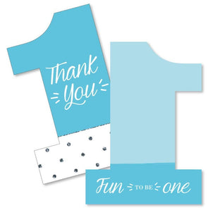 Blue 1st Birthday Thank You Cards and envelopes - Boys Party