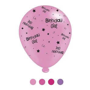 """Birthday Girl"" Design Latex Balloons Assorted Pinks 8 Pack - Case of 6"