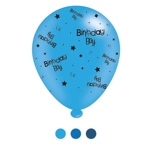 """Birthday Boy"" Design Latex Balloons Assorted Blue 8 Pack - Case of 6"