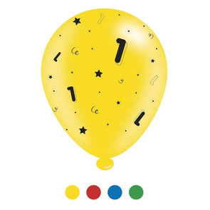 """1"" Design Latex Birthday Balloons Assorted Colours 8 Pack - Case of 6"