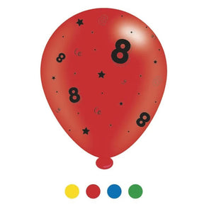 """8"" Design Latex Birthday Balloons Assorted Colours 8 Pack - Case of 6"