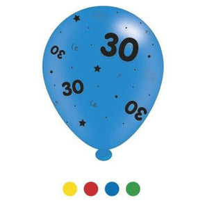 """30"" Design Latex Birthday Balloons Assorted Colours 8 Pack - Case of 6"