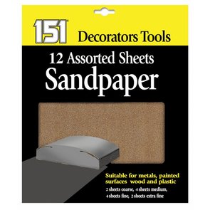 151 Decorators Tools Sandpaper Sheets 12 Pack Assorted