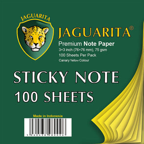 Jaguarita Sticky Notes Canary Yellow 100 Sheets 75gsm