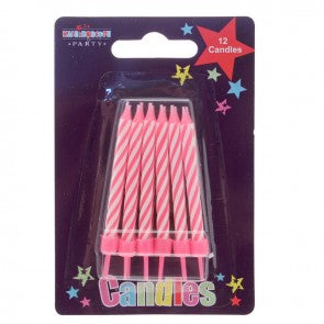 Birthday Party Candles Pink Stripe 12 Pack - Case of 6