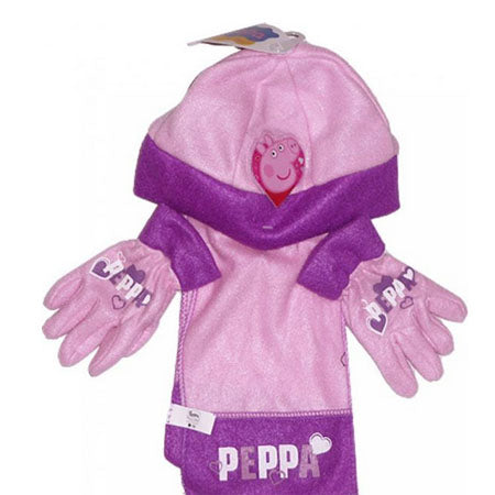 913e1955c6585 3 piece Hat Glove and Scarf Set Peppa Pig - MX Wholesale