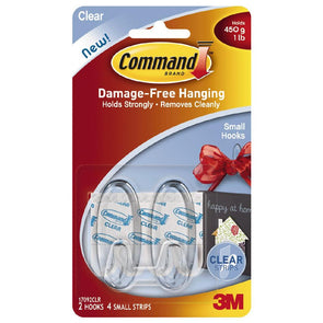 3M Command Small Clear Hooks with Clear Strips