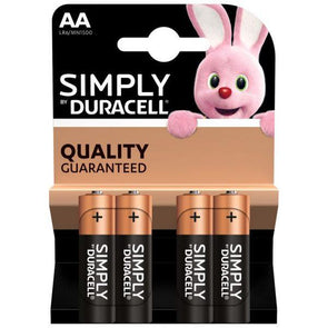 Duracell Simply AA Battery 4 Pack - Case of 20