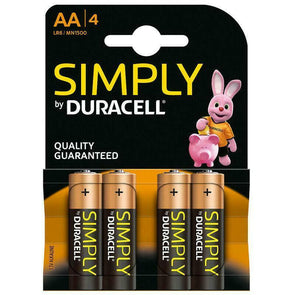 Duracell Simply AA Battery 4 Pack 1500 B4 - Case of 20