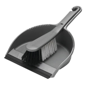 Addis Dustpan & Soft Brush Set Metallic Silver