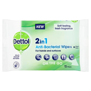 Dettol 2 in 1 Anti-Bacterial Wipes On The Go 15 Pack - Case of 9