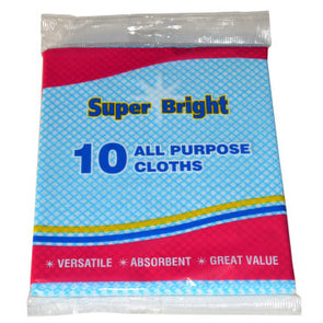 Super Bright All Purpose Cloths 10 Pack - Case of 10