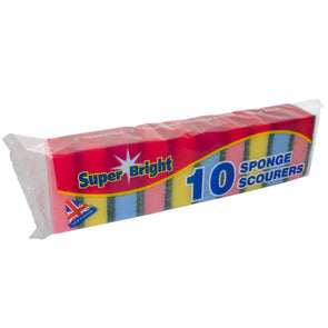Super Bright Sponge Scourers 10 Pack - Case of 10