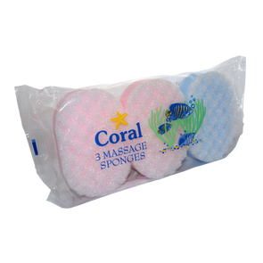 Coral Massage Sponge 3 Pack - Case of 10
