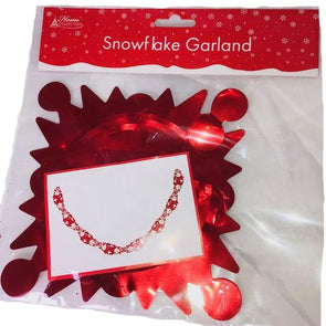 Snowflake Foil Garland Decoration Red