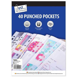 A4 Clear Plastic Wallets Poly Punched 40 Pockets - Case of 10
