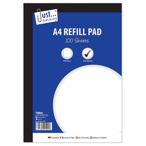 A4 Plain Refill Pad 100 Sheets 53gsm Sheet Side Bound - Case of 6