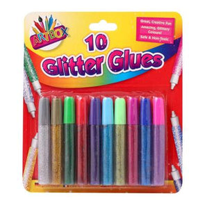 10 Assorted Colour Glitter Glue Pens