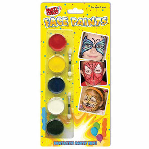 Face Painting Kit 5 Colours & 2 Double Ended Applicators