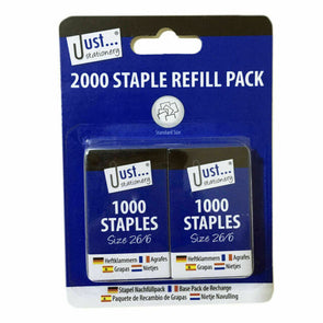 Staple Refill Pack Size 26/6 2 x 1000 Pack - Case of 12