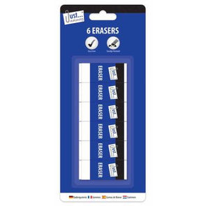 White Erasers 6 Pack - Case of 12