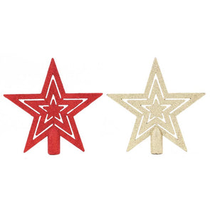 Star Glitter Tree Topper Traditional Assorted - Case of 12