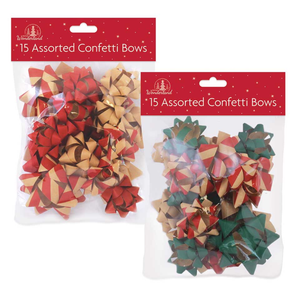 Confetti Gift Bows 15 Assorted - Case of 12