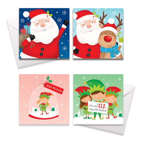Square Boxed Christmas Cards Santa / Elves 10 Pack
