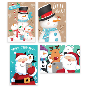 Rectangular Boxed Christmas Cards Snowman & Santa 10 Pack