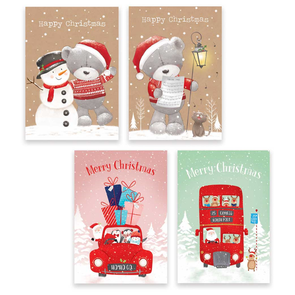 Rectangular Boxed Christmas Cards Bears & Santa 10 Pack
