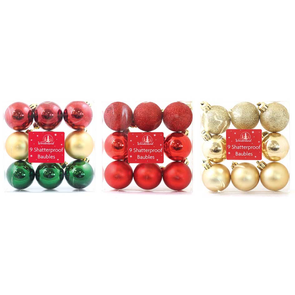 Shatterproof Traditional Baubles 9 Pack - Case of 12