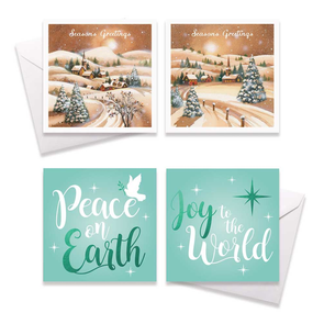 10 Square Boxed Church / Village scene Christmas Card