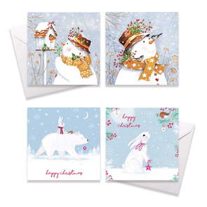 Square Boxed Christmas Cards Snowman & Birds 10 Pack