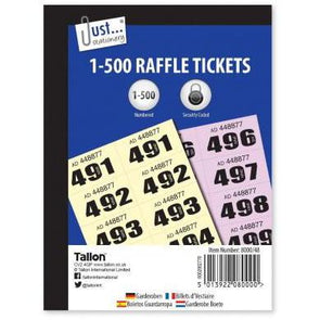 Cloakroom Raffle Tickets 1-500 - Case of 12