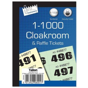 Cloakroom Raffle Tickets 1-1000 - Case of 12