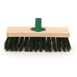 Charles Bentley Broom Head with Bracket Stiff PVC Fill Green 11""