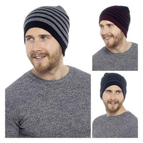 RJM Men's Striped Beanie Hat